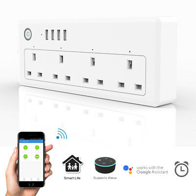 Smart WiFi Power Plug Strip Surge MultiSocket 4 Sockets 4 USB Port Alexa Echo Kj