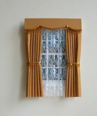 Dolls House Curtains Gold With Fringe