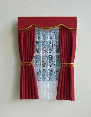 Dolls House Curtains Deep Red With Fringe
