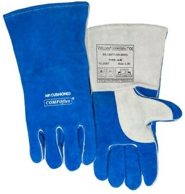 New - Weldas Comfoflex Air Cushioned Leather Work Gloves Large Blue