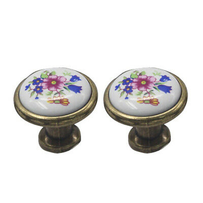 2pcs/pack Europe Ceramic Drawer Door Cabinet Cupboard Pull Handles Kno O3F9