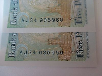 Two £5 Five Pound Notes printed in Sequence