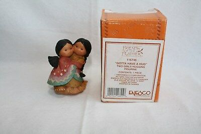 Friends of the Feather Figure Gotta Have a Hug Two Girls Enesco 115746 FREE SHIP