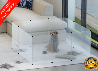Portable Large Plastic Yard Playpen Fence for Small Dog Cats Pets w/ 12 Panels