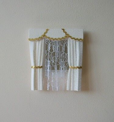 Dolls House Curtains Cream & Gold For Dormer Windows