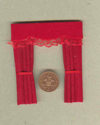 Dolls House Curtains  Red & Lace For Dormer Windows