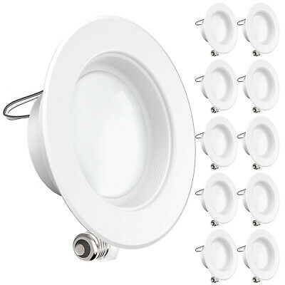 """10 pack 11W 4""""inch 4000K Cool White LED Retrofit Baffle Recessed Lighting 600LM"""
