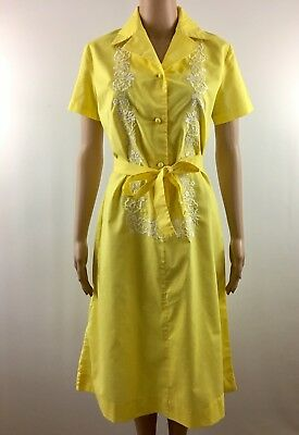 Vintage 70s Yellow Diner Waitress Nurse Uniform Medium Embroidered Short Sleeve