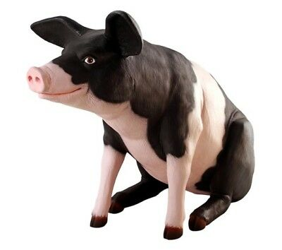 Pig Sitting Life Size Resin Statue Farm Display Prop Decor Countryside Theme
