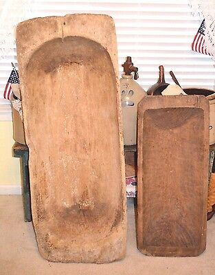 "HUGE PRIMITIVE ANTIQUE TRENCHER DOUGH BOWL W/HANDLES HAND CARVED 50""x 19""x 7"""