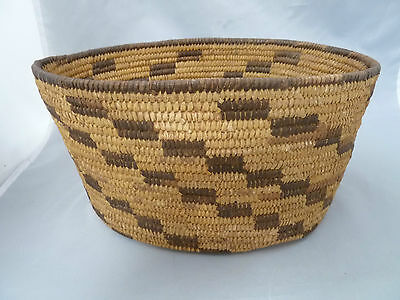 "Native American PIMA Oval Basket Bowl VERY NICE DESIGN. APPROX 5"" T x 10.5""Long"