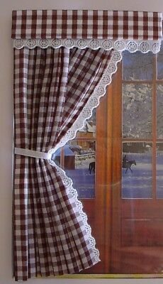Dolls House Curtains Brown Gingham Door