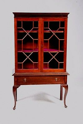 Offer -  Antique Mahogany Display Cabinet On Stand -  Suitable For Shabby Chic