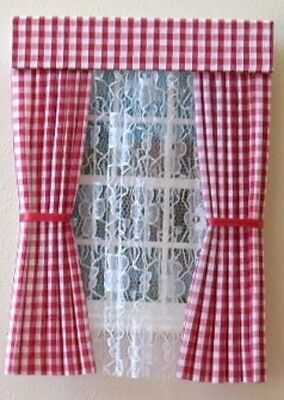 Dolls House Curtains Red  Gingham With Nets