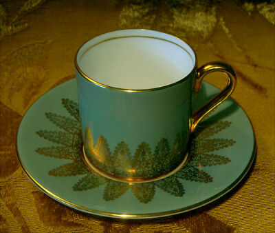 Aynsley Sage Green Demitasse Cup & Saucer Set(S) Gold Lace 2253 Made In England