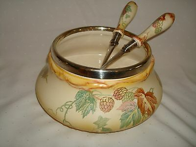 Royal Bonn Franz Anton Mehlem Porcelain Salad Bowl & Servers