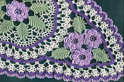 "Roses 7 Purple Lilac Lavender Rose Oval Centerpiece 25""X14"" Crochet Doily"