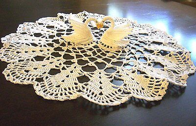 "Crochet Centerpiece Doily Swan Love 3D Wedding Gift approx 16"" White"