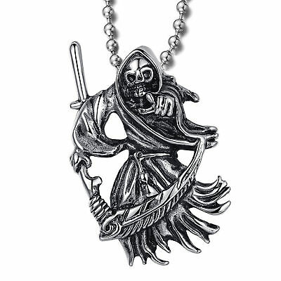 3bc430cc2ad7f Fashion Men's Stainless Steel Pendant Necklace Grim Reaper Death Skull  Scythe