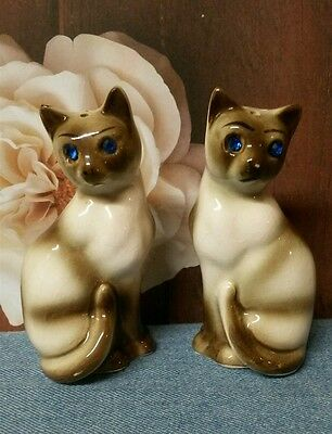 Vintage Siamese Cat Salt and Pepper Shakers with Blue Rhinestone Eyes