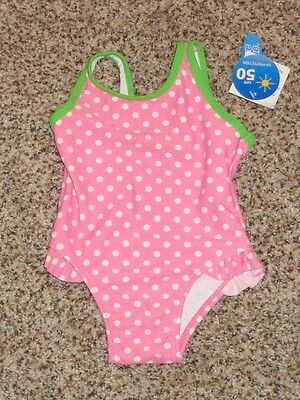 Wave Zone Baby Girls Swimsuit Green Pink White Polka Dots 12 Months NEW 1 Piece