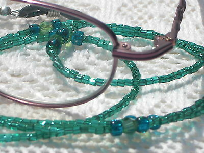 "Eyeglass Chain~Teal Green Blue 28""~Swarovski Accents~Handmade US~Buy 3 SHIP FREE"