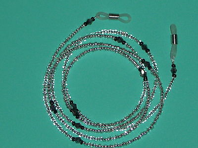 "Eyeglass Chain Silver Lined Clear~Swarovski Accents~28"" Buy 3 SHIP FREE~Handmade"