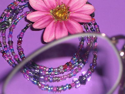 "Eyeglass Chain~Purple Magenta Mix~28""~VIBRANT~Crystal Accents~BUY 3 SHIP FREE"