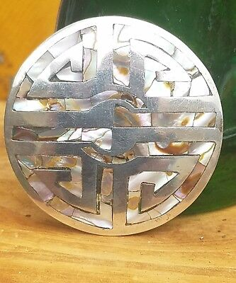 Vintage Large Taxco Beto sterling silver abalone inlay brooch/pendant