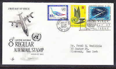 "United Nations ""Artcraft"" 1963 - 8c Airmail Regular  FDC addressed"