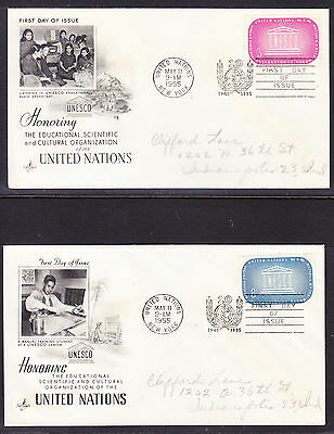 "United Nations 1955 ""Artcraft"" - UNESCO Two  First Day Covers addressed"