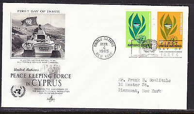 "United Nations ""Artcraft"" 1965 - Peace Keeping in Cyprus FDC addressed"