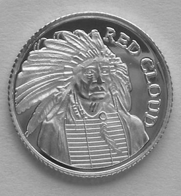 "1 Gram .999 Fine Solid Silver Art-Round Mini/Coin based on: "" CHEIF RED CLOUD """