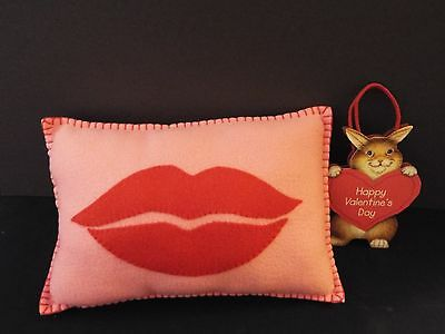 NEW valentine's day fleece lips pillow & gift bag-handmade-stitched-love-kiss