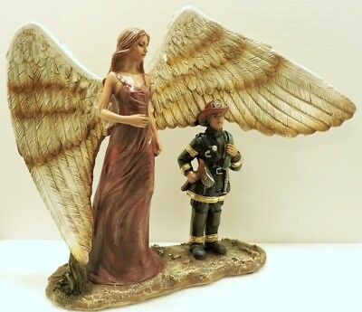 Guardian Angel Fireman Fire Dept  12x9x3 1/2 inch Figurine New
