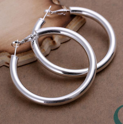 Womens 925 Sterling Silver Large 50mm Round Circle Hoop Earrings #E91