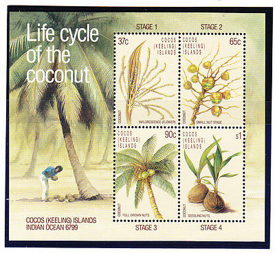 Cocos Islands 1988 Life Cycle Coconut Miniature Sheet MNH