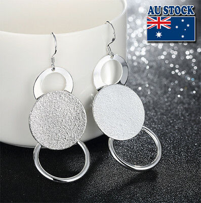 Classic Stunning 925 Sterling Silver Filled Ball Scrub Round Dangle Earrings Par