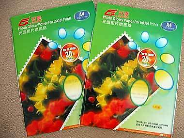 one pack of 20 sheets new Color Inkjet Ink Jet Photo Glossy Paper A4 140gsm