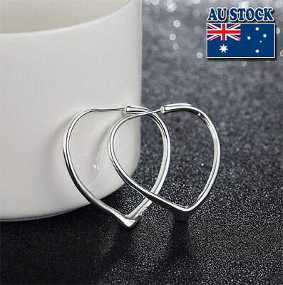 Classic 925 Sterling Silver Filled High Polished Big Love Heart Hoop Earrings