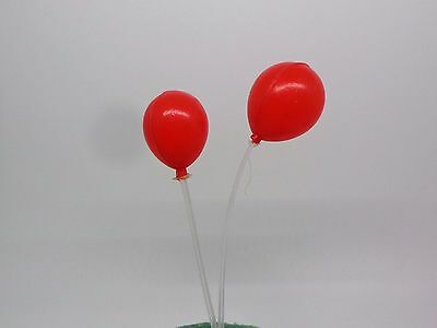 Pair Of Red Balloon Dolls House Miniature Toy Plastic Balloon Party Accessory