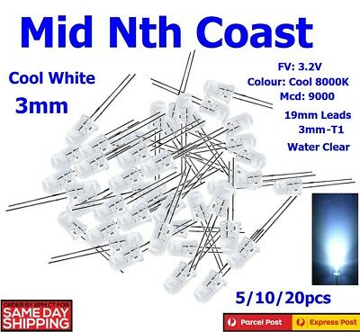 5/10/20pc 3mm Water Clear High Bright Round Cool White LED Diodes WL588 FV2.2V