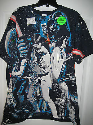 STAR WARS T-Shirt Movie Poster Glow in the Dark T-Shirt 2 Sided LARGE *NEW*