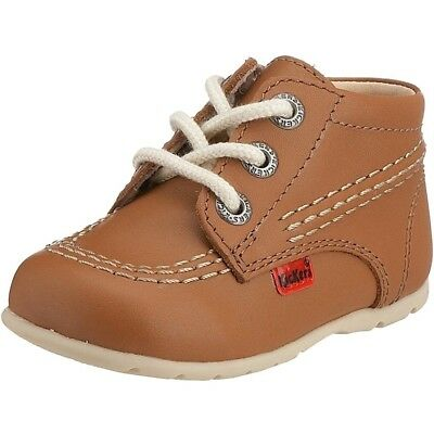 Kickers Kick Hi B Tan Leather Baby First Walkers Shoes