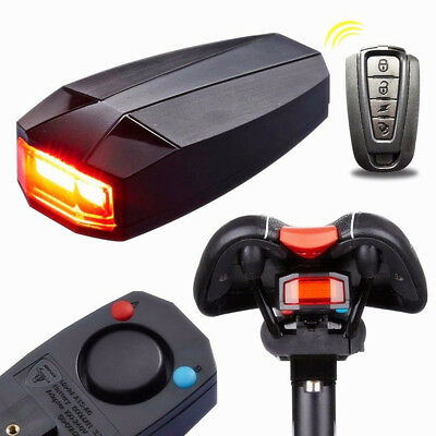 USB Smart Anti-theft Alarm Warning Bike Bicycle Tail-light LED Rear Light Remote