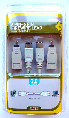 ANTSIG 6 Pin to 6 Pin Male 1394a Firewire Lead with Adaptors 2m  Model # AP653