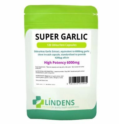 Super Aglio (Garlic) 6000 Mg 120 Compresse Lindens Inodore Odorless