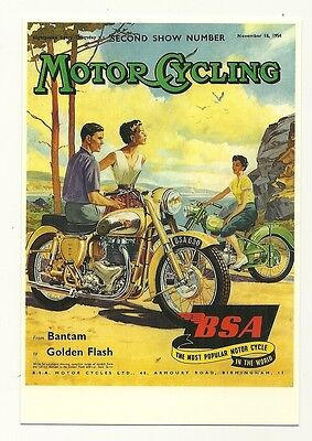 BSA Motor Cycle - on the cover of 'Motor Cycling' reproduced on modern postcard