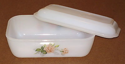 Beurrier ARCOPAL vintage ROSE BLANCHE ancien cuisine french butter dish