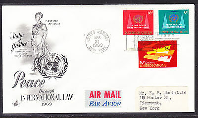 "United Nations ""Artcraft"" 1969 - Peace through International  Law  FDC addressed"
